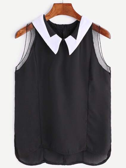 Black Collar Sleeveless Chiffon Blouse