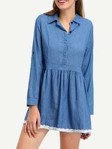 Blue Long Sleeve Collar Denim Dress