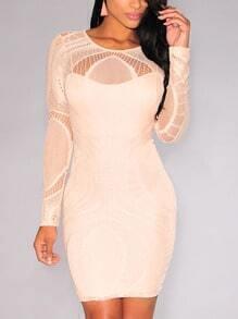 Apricot Lace Mesh Yoke Sleeve Bodycon Dress