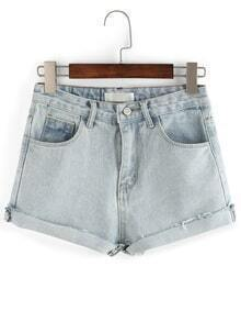 Washed Demin Pockets Back Roled-up Shorts