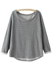 Dark Grey Scoop Neck Raglan Sleeve Pullover Sweatshirt
