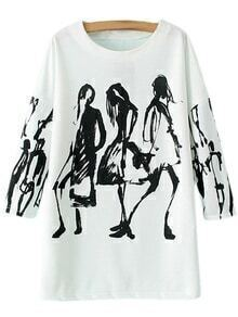 Black White Round Neck Print Pullover Sweatshirt
