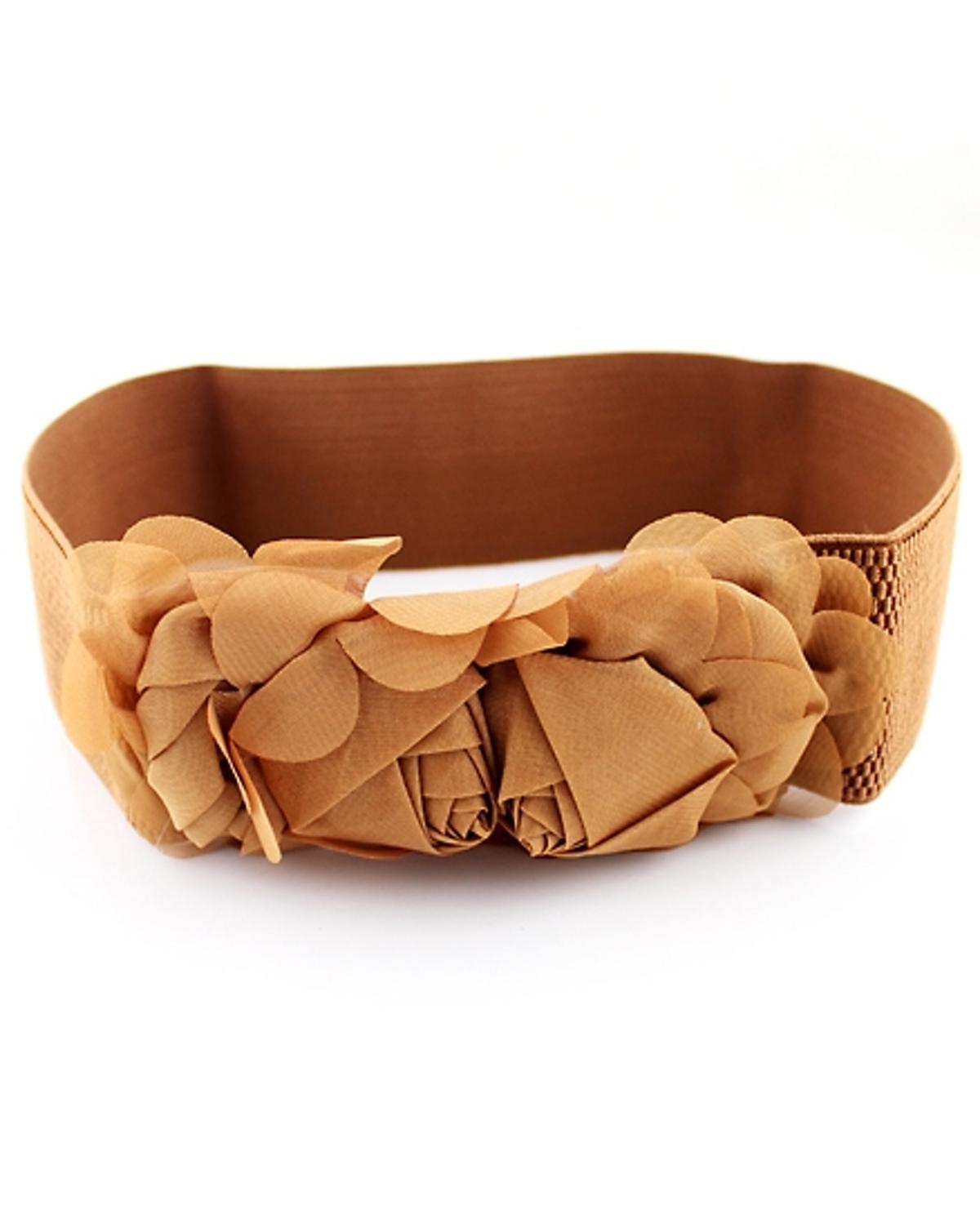 棕花 裝飾 彈性 腰帶