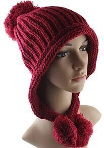 Red Twisted Ball Knit Hat
