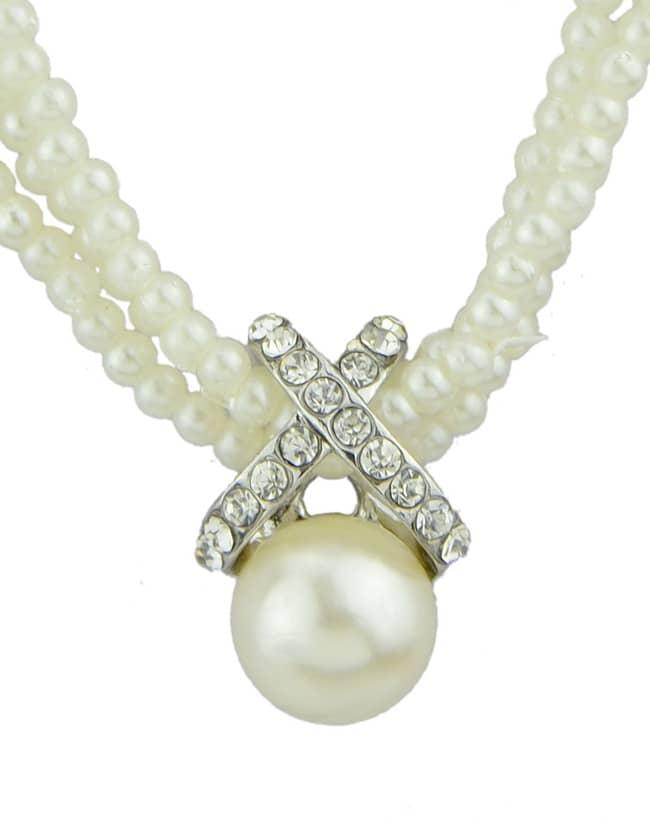 Белый Жемчужное Ожерелье Мультислоях