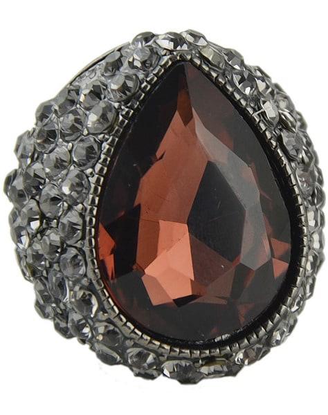 Фиолетовый Драгоценный Камень Ретро Серебро Кольцо С Бриллиантом