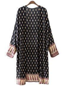 Multicolor Long Sleeve Split BBack Print Kimono