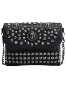 Black With Studded Skull Shoulder Bag