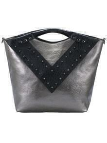 Grey V-shaped Rivet PU Tote Bag