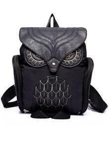 Black Owl Pattern Shaped Backpack