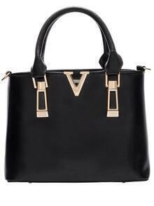 Black Zipper Metallic Embellished PU Tote Bags