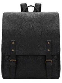 Black Buckles PU Backpacks