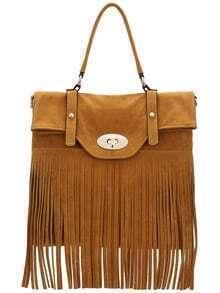 Khaki Twist Lock Fringe PU Bag