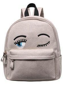 Grey Eyes Pattern PU Backpack
