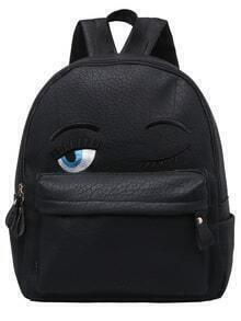 Black Eyes Pattern PU Backpack