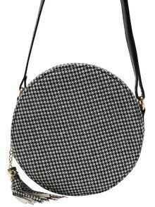 Houndstooth PU Round Crossbody Bag