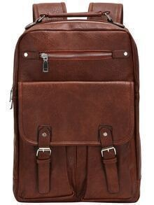 Brown Buckle Zipper PU Backpacks