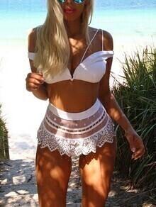White Push Up Lace Bikini Set