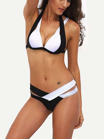 Set de bikini cut out color combinado