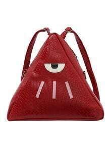 Sac à dos triangle imprimé yeux -rouge