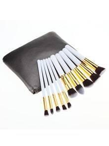 10 pinceaux à maquillage avec sac -blanc