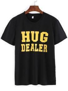 T-shirt imprimé lettres manche courte -noir