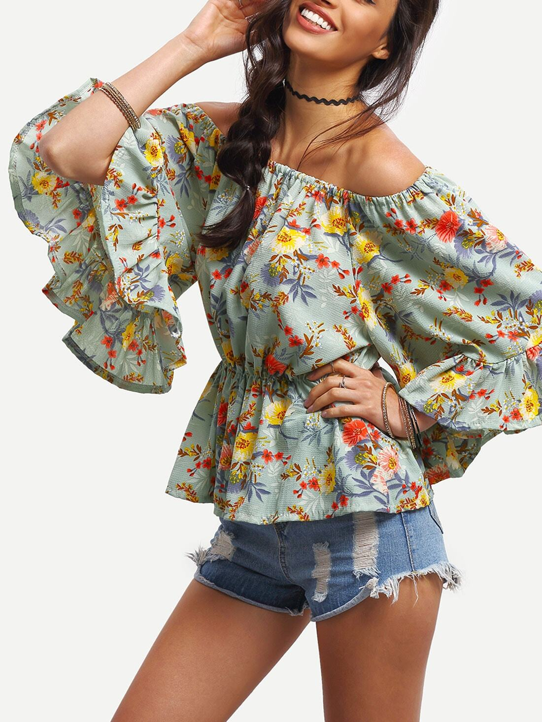 Off-The-Shoulder Flower Print Peplum Blouse