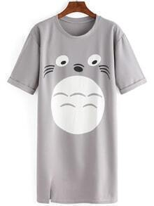 Totoro Print Roll Over Sleeve T-shirt Dress
