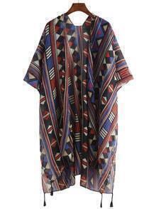 Geo Print Taselled Hem Kimono