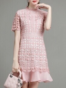 Pink Crochet Hollow Out Ruffle Dress