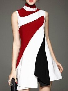 White Contrast Red Black Stand Collar Sleeveless Ruffle Dress