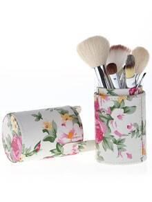 12pcs set de cepillo con cylinder flores -rosa