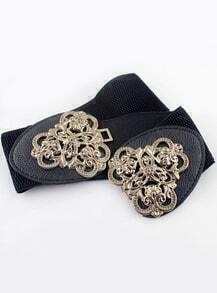 Black Elastic Metal Leather Belt