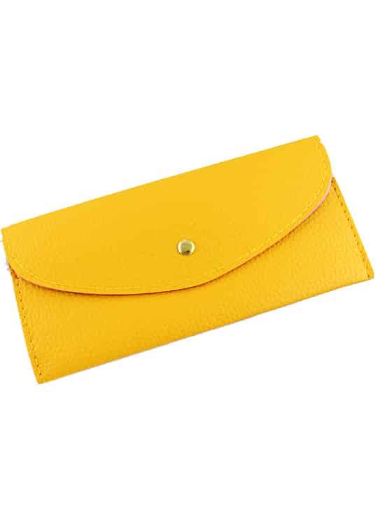 Yellow Fashion Envelope Pu Clutch Bag