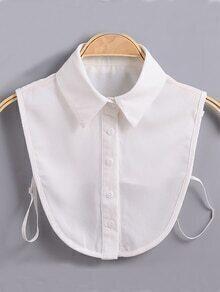 White Lapel Buttons Chiffon Collar