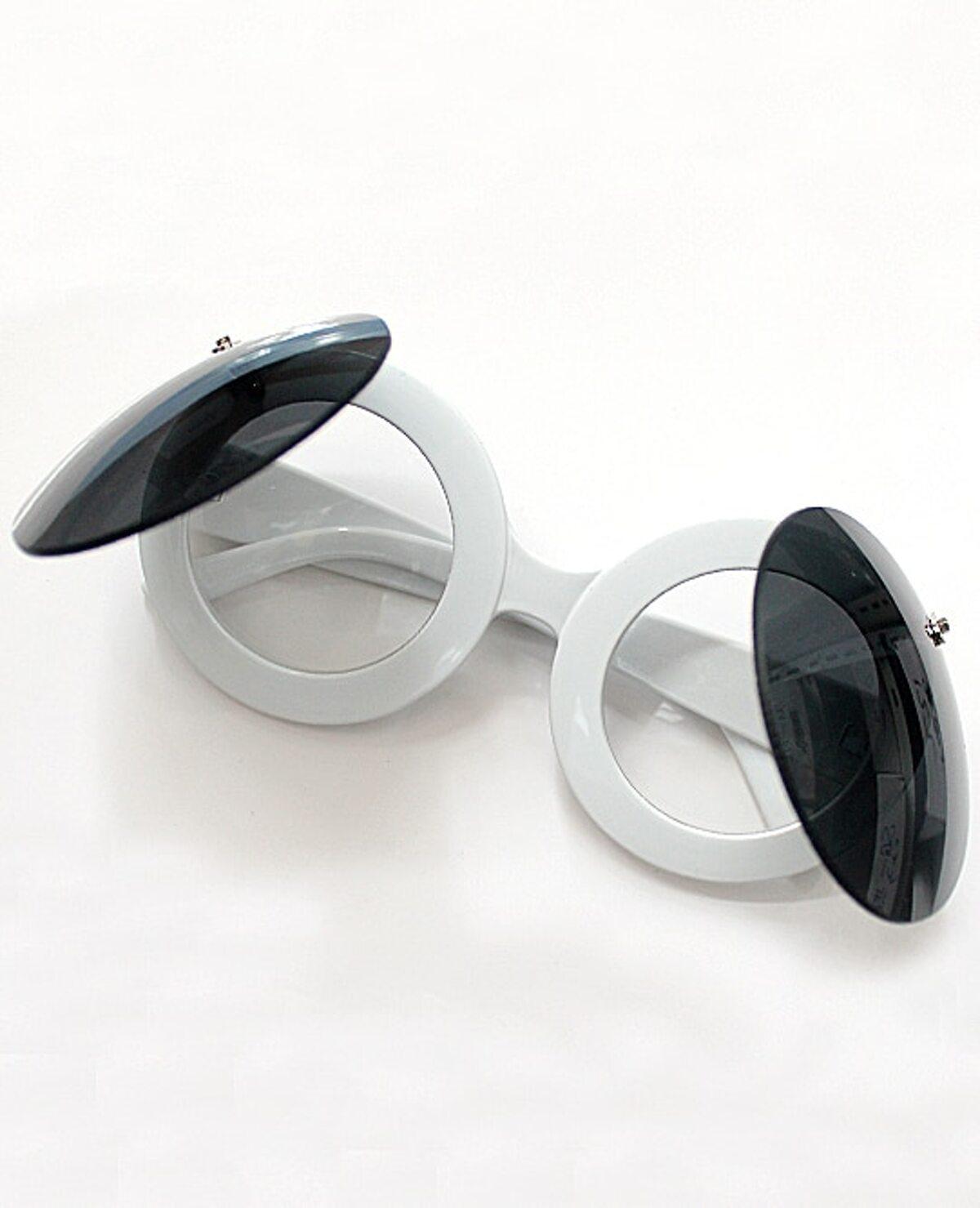 白色 圓形的 鏡片 雙倍 分層 太陽眼鏡