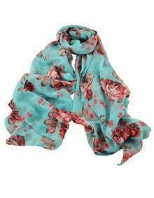 Green Knitted Flower Voile Scarf