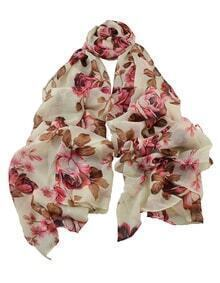 Hotpink Knitted Flower Voile Scarf