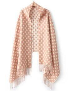Pink Polka Dot Tassel Scarve