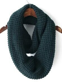 Dark Green Casual Knit Scarve