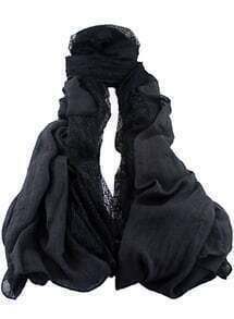 Black Contrast Lace Scarves