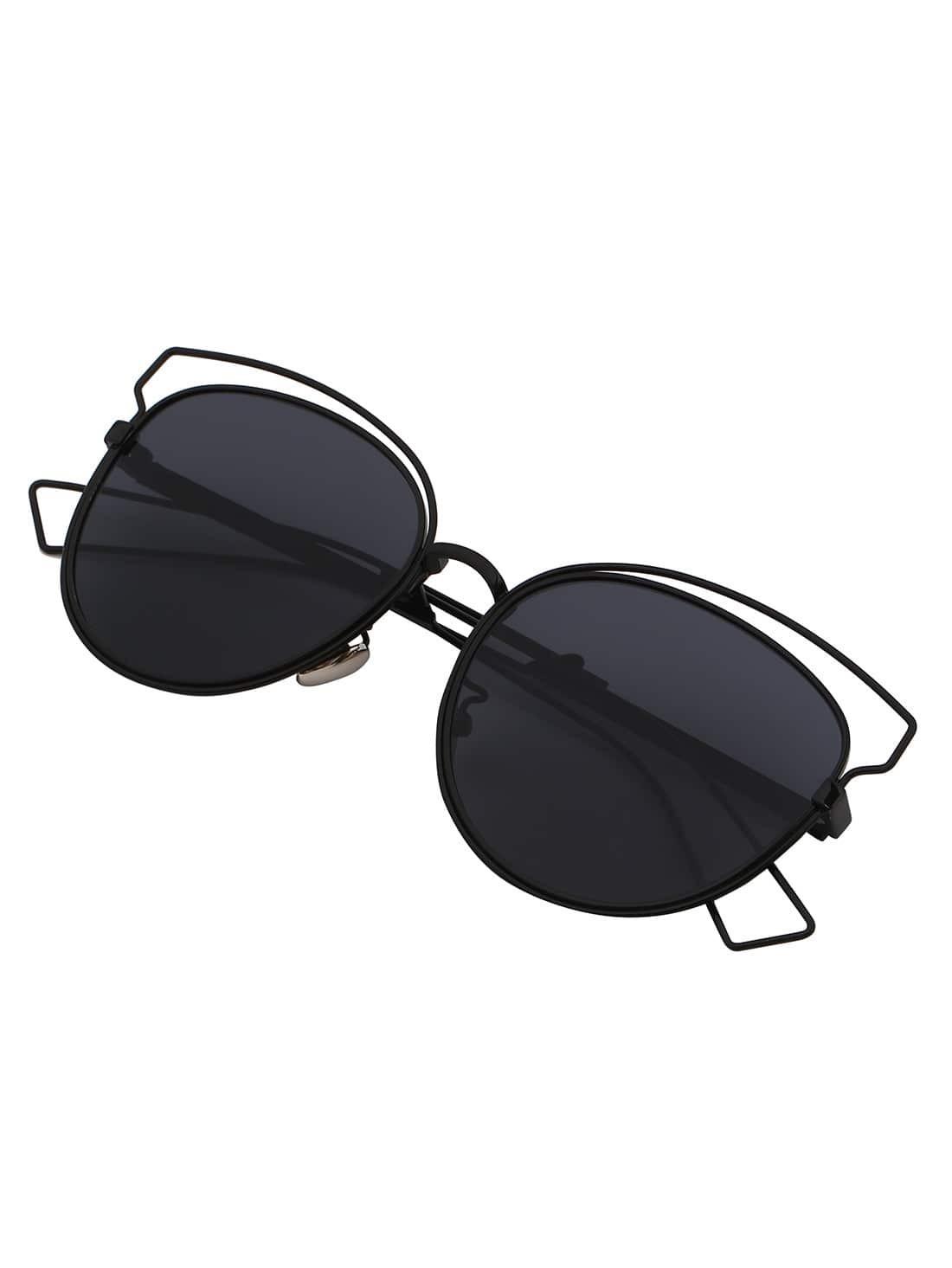 Black Cutout Frame Cat Eye Sunglasses