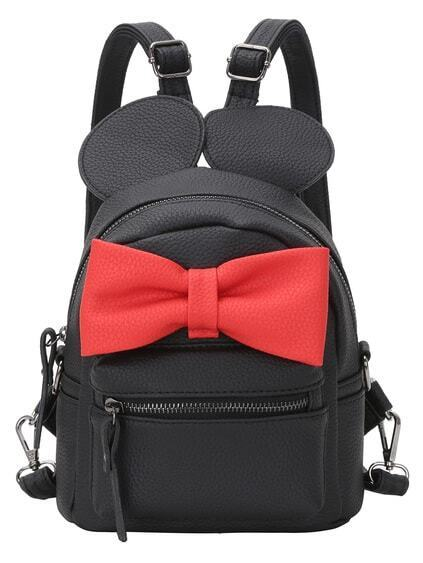 Contrast Oversized Bow Tie Embellished Backpack