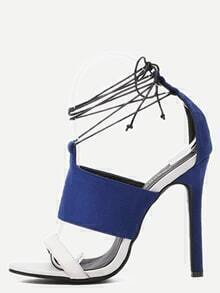 Blue Faux Suede Strappy Lace-Up Heeled Sandals