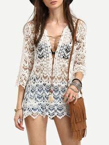 White Deep V Neck Crochet Lace Up Beach Shirt