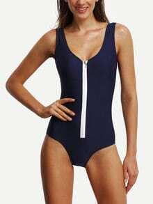 Contrast Zipper Front One-Piece Swimwear
