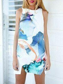 Sleeveless Florals A-Line Dress With Zipper