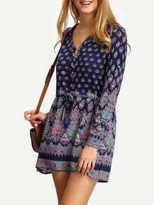 V Neck Elbow Sleeve Print Shirt Dress