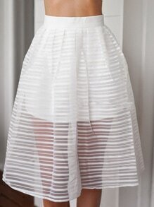 White High Waist Organza A-Line Skirt