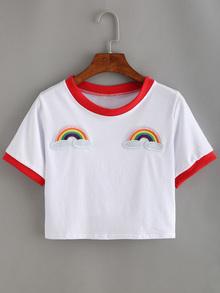 T-shirt arc en ciel brodé manche courte -blanc rouge